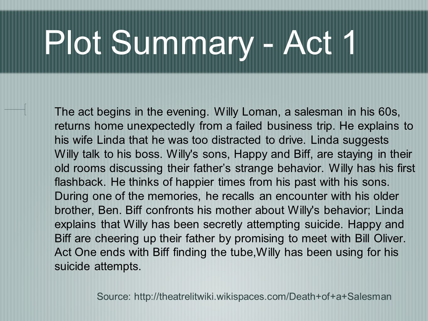 a plot summary of a death of salesman Enotes - death of a salesman detailed study guides typically feature a comprehensive analysis of the work, including an introduction, plot summary, character analysis, discussion of themes, excerpts of published criticism, and q&a.