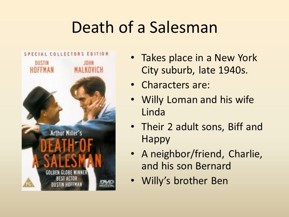 death salesman review Critical analysis-death of a salesman -arthur miller arthur miller (oct 1950-feb 2005) was, in all probability, one of the greatest playwrights of contemporary history he is also one of the greatest critics of contemporary american society, as his works often tend to portray american middlemen as.