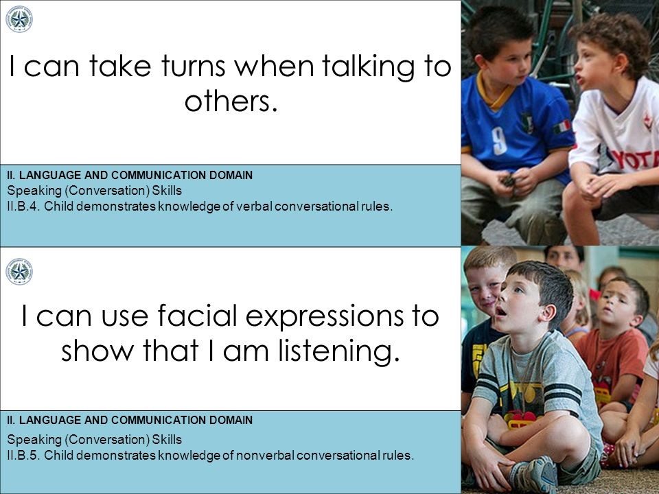 II. LANGUAGE AND COMMUNICATION DOMAIN I can take turns when talking to others.