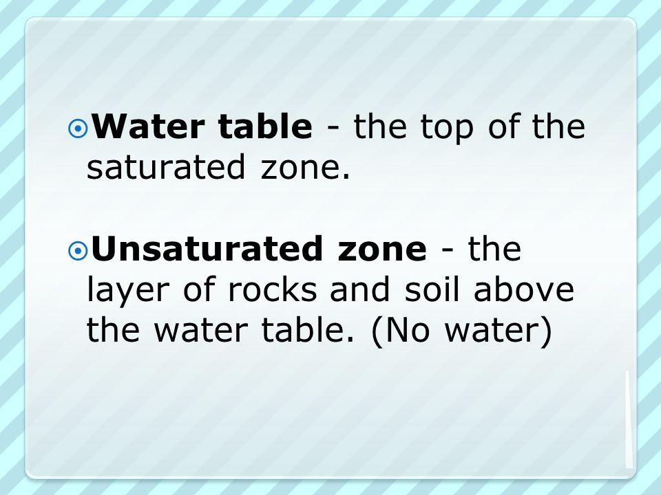  Water table - the top of the saturated zone.