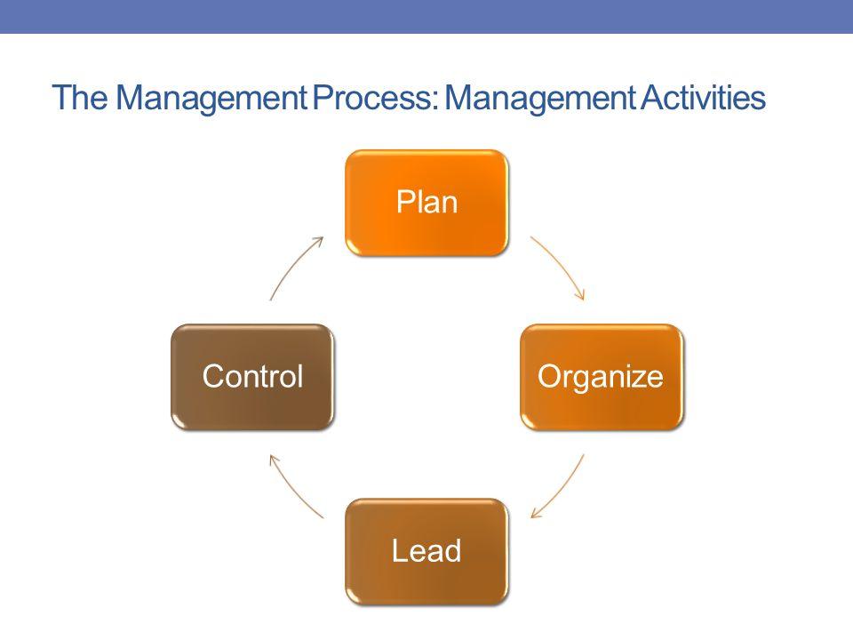 The Management Process: Management Activities PlanOrganizeLeadControl