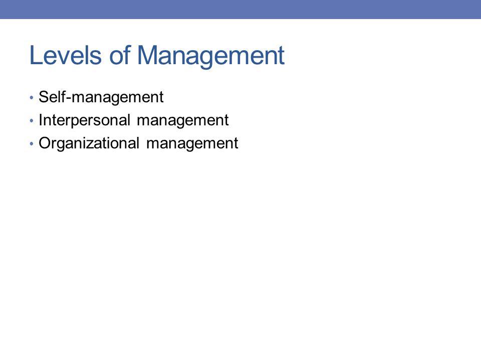 Levels of Management Self-management Interpersonal management Organizational management