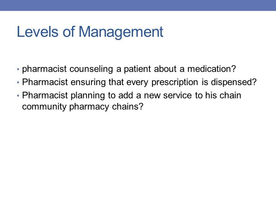 Levels of Management pharmacist counseling a patient about a medication? Pharmacist ensuring that every prescription is dispensed? Pharmacist planning