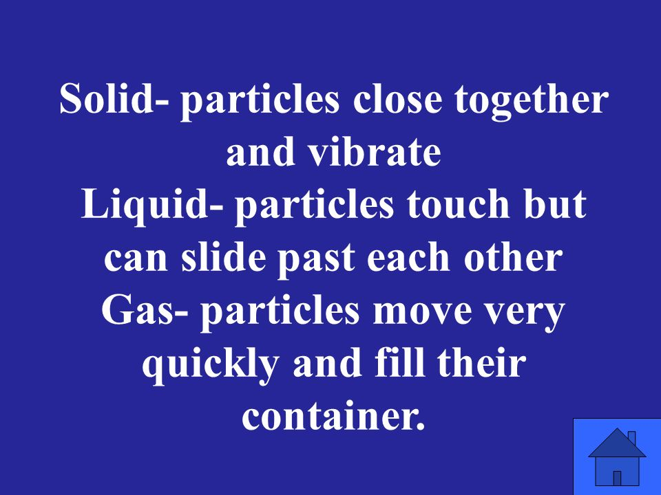 Solid- particles close together and vibrate Liquid- particles touch but can slide past each other Gas- particles move very quickly and fill their container.