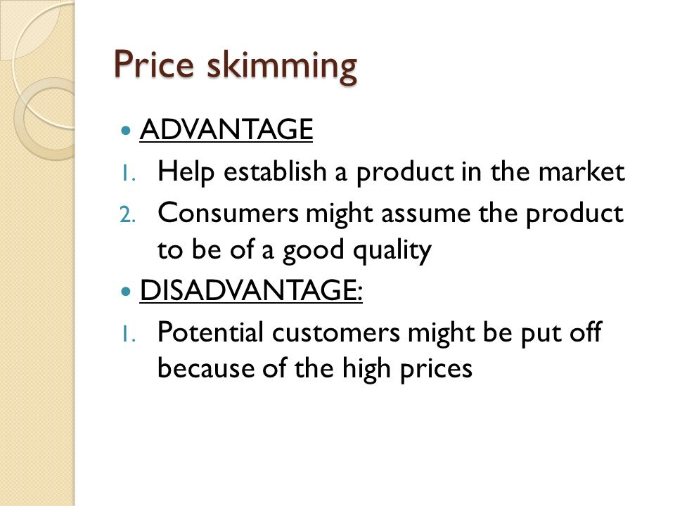 Advantages a disadvantages of some pricing methods?