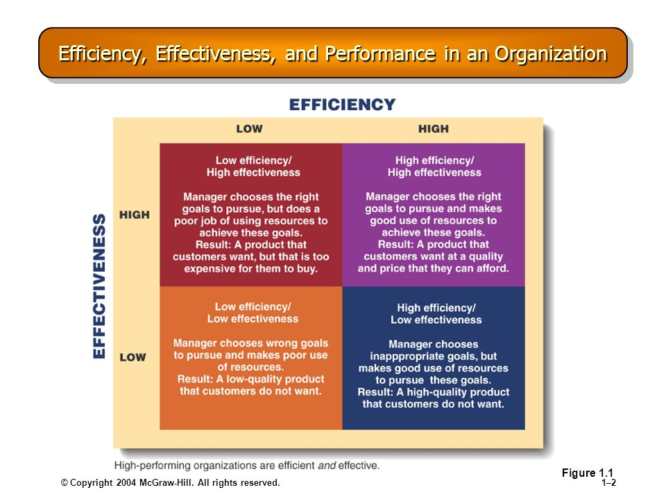 © Copyright 2004 McGraw-Hill. All rights reserved.1–21–2 Efficiency, Effectiveness, and Performance in an Organization Figure 1.1