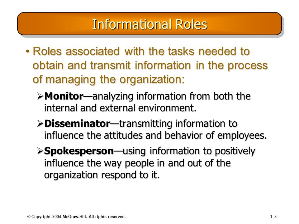 © Copyright 2004 McGraw-Hill. All rights reserved.1–81–8 Informational Roles Roles associated with the tasks needed to obtain and transmit information