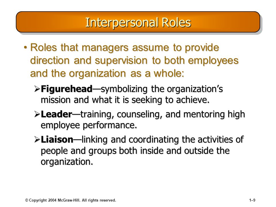 © Copyright 2004 McGraw-Hill. All rights reserved.1–91–9 Interpersonal Roles Roles that managers assume to provide direction and supervision to both e