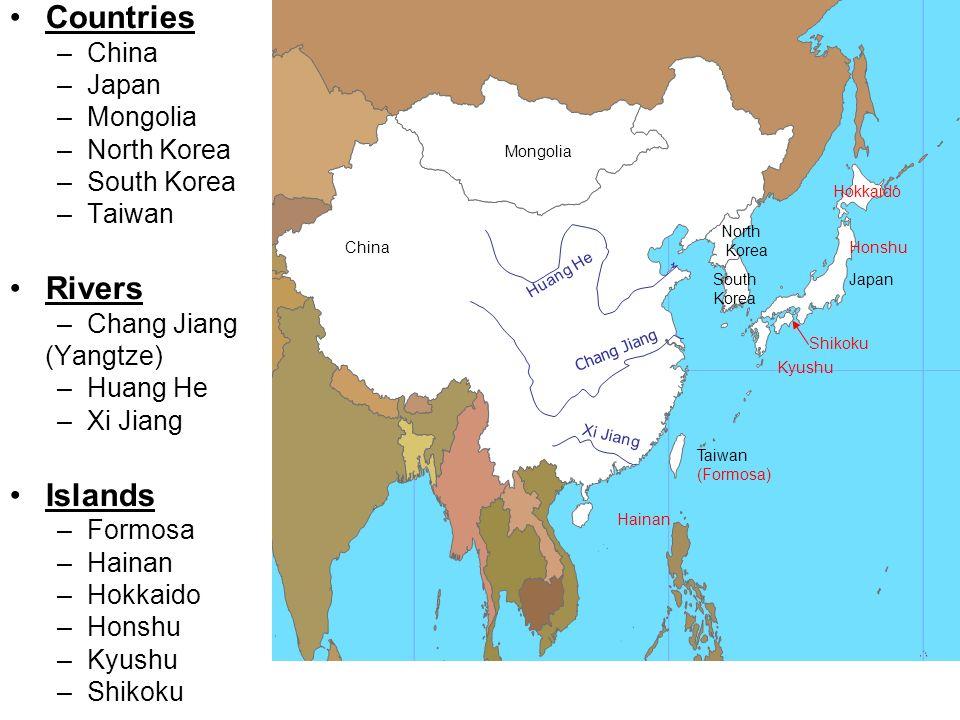 East Asia Map Japan China North Korea South Korea Huang He Taiwan - Chang river world map
