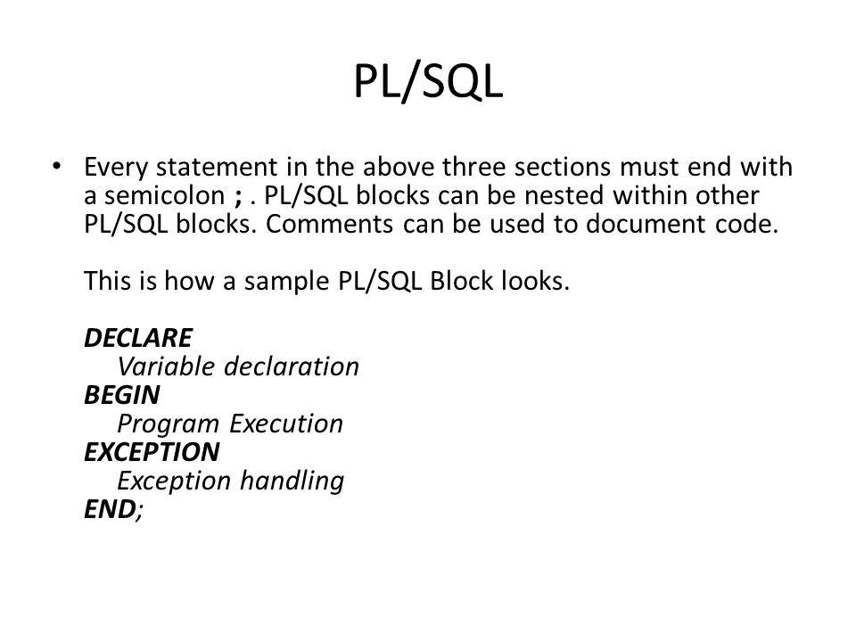 PL / SQL By Mohammed Baihan. What is PL/SQL? PL/SQL stands for ...