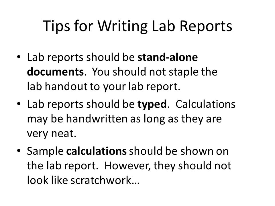 Writing lab reports for dummies