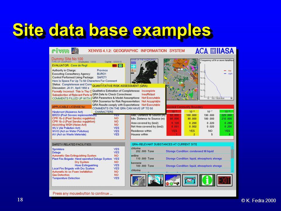 © K. Fedra 2000 18 Site data base examples