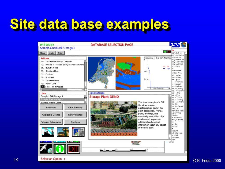 © K. Fedra 2000 19 Site data base examples