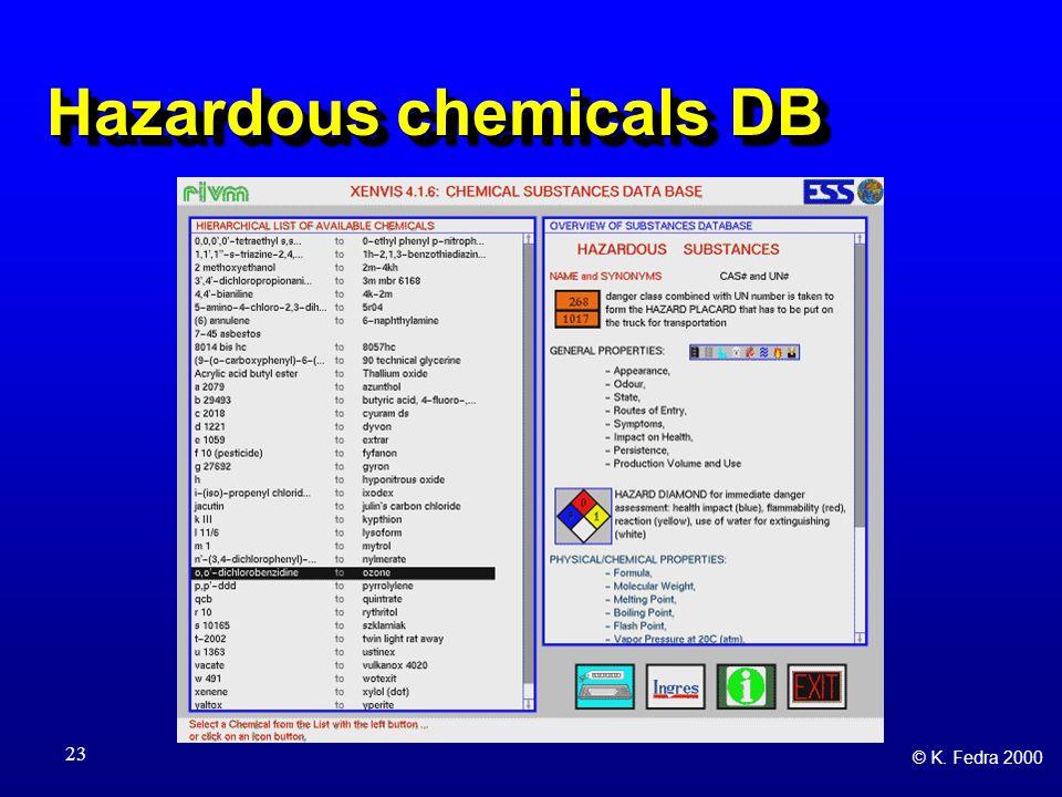 © K. Fedra 2000 23 Hazardous chemicals DB