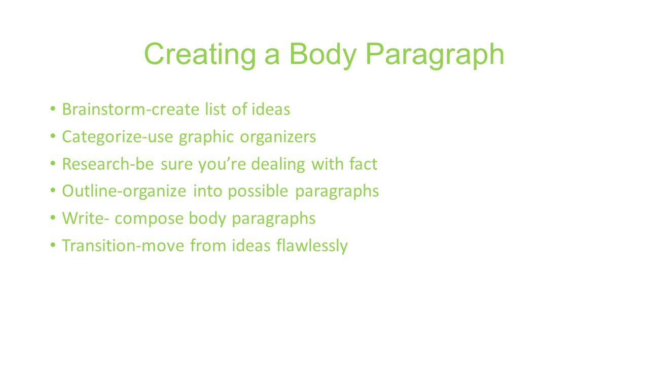 Creating a Body Paragraph Brainstorm-create list of ideas Categorize-use graphic organizers Research-be sure you're dealing with fact Outline-organize into possible paragraphs Write- compose body paragraphs Transition-move from ideas flawlessly
