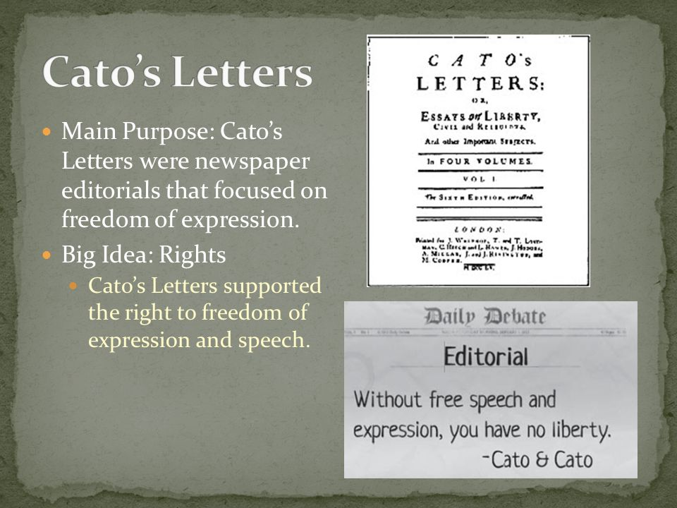 main purpose catos letters were newspaper editorials that focused on freedom of expression
