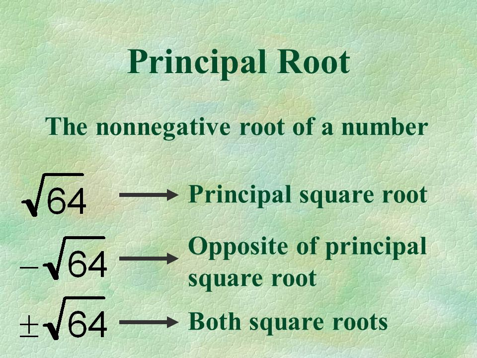 Principal Root The nonnegative root of a number Principal square root Opposite of principal square root Both square roots