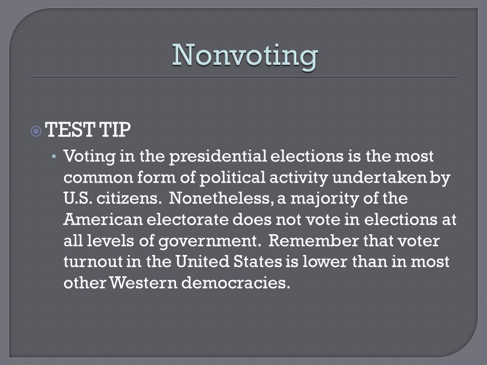 Voters and Voter Behavior.  Two Long Term Trends Federal laws ...