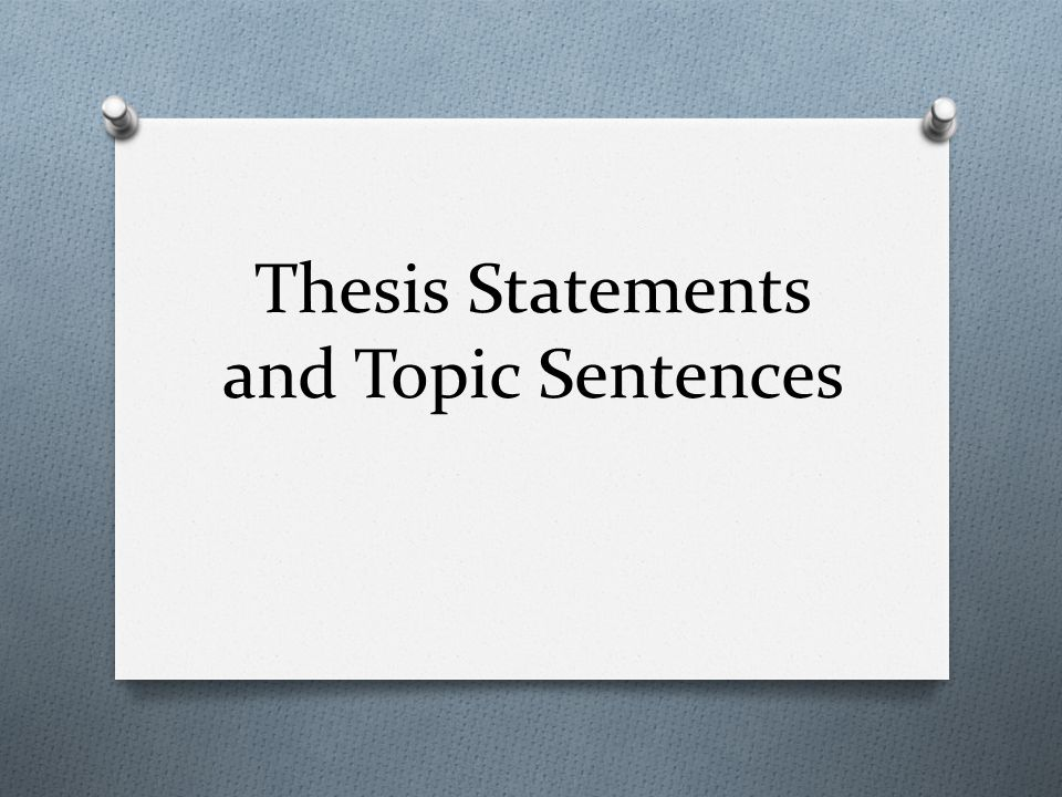 thesis statements and topic sentences an essay needs a point o