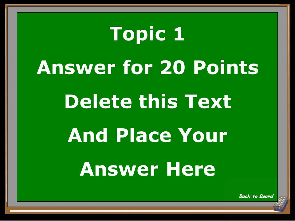 Topic 1 Question for 20 Points Delete this Text And Place Your Question Here Show Answer
