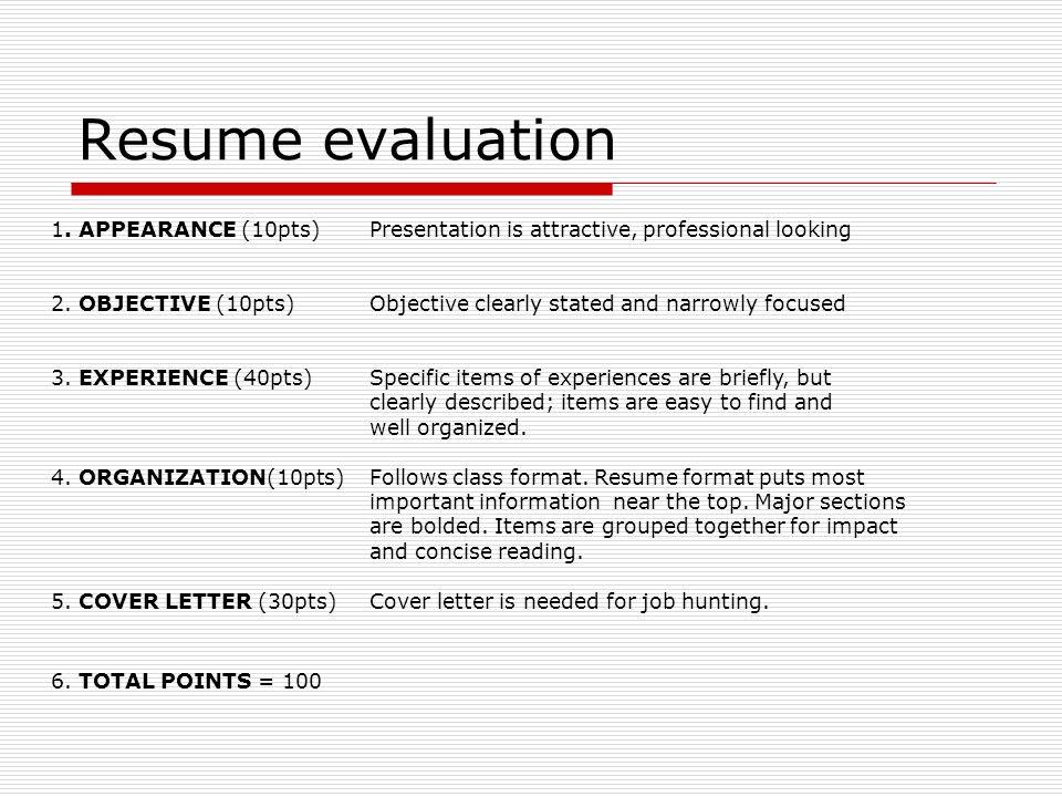 8 resume evaluation