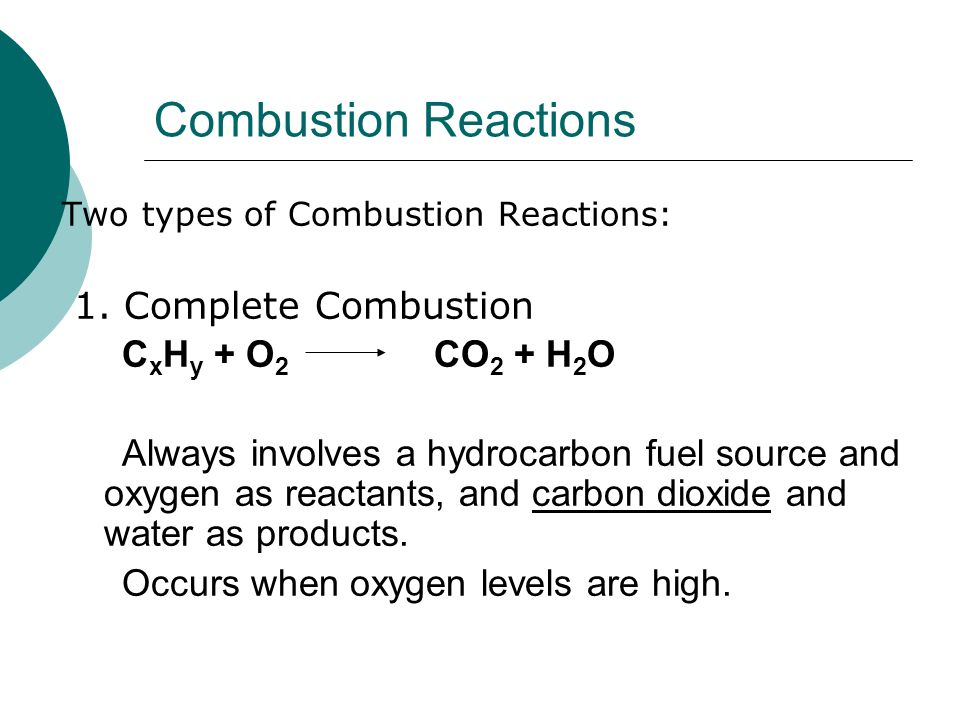 Combustion Reactions  Two types of Combustion Reactions: 1.