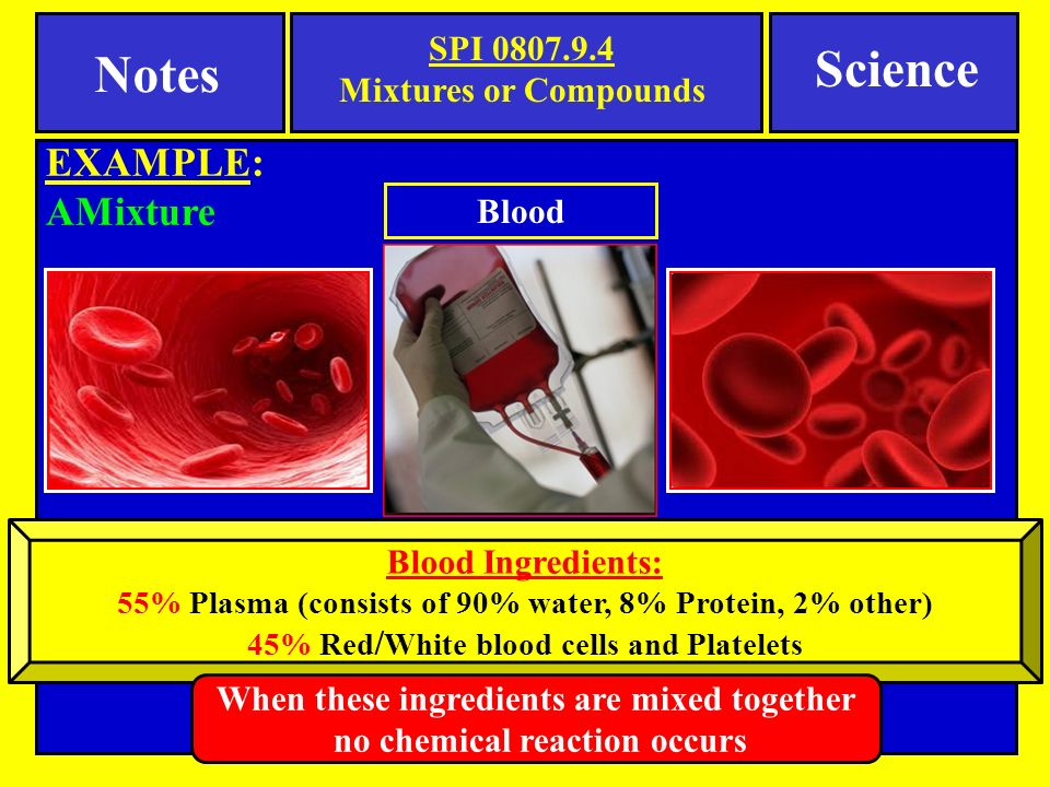 Notes SPI Mixtures or Compounds EXAMPLE: AMixture Science Blood Blood Ingredients: 55% Plasma (consists of 90% water, 8% Protein, 2% other) 45% Red / White blood cells and Platelets When these ingredients are mixed together no chemical reaction occurs