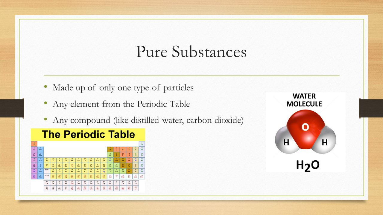 From particles to solutions chemistry 01 learning goals i will 7 pure substances made up of only one type of particles any element from the periodic table any compound like distilled water carbon dioxide gamestrikefo Images