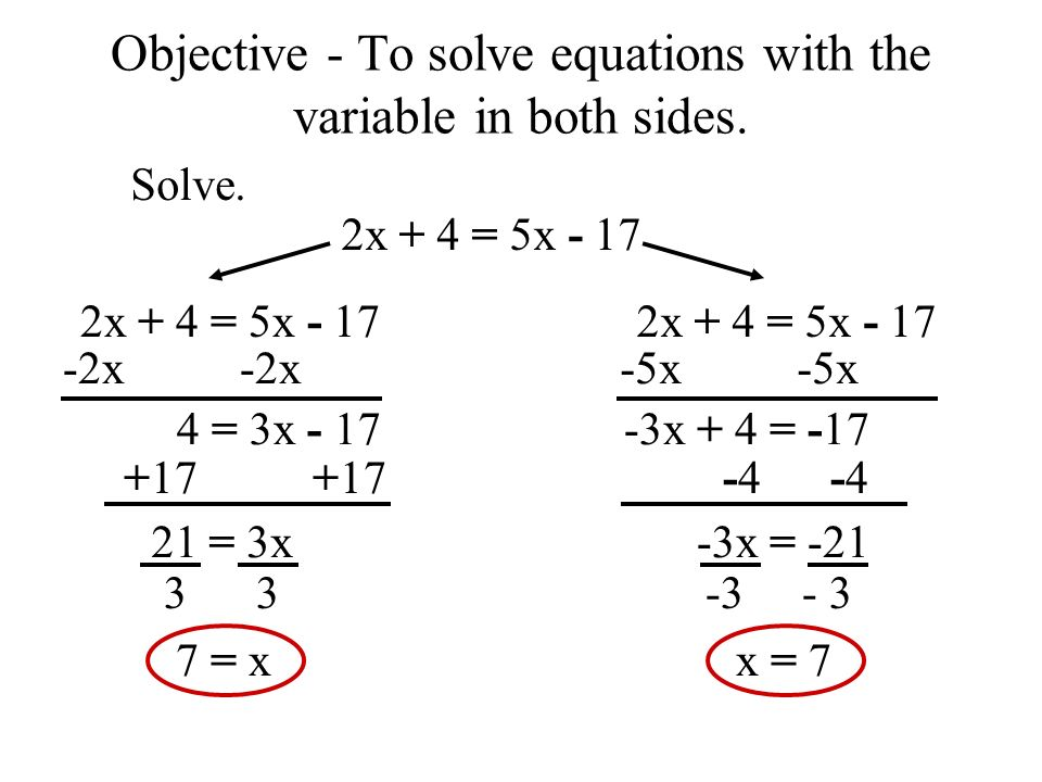 Objective - To solve equations...