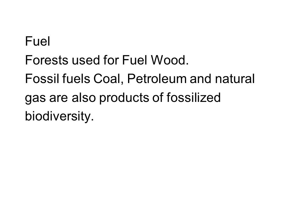 Fuel Forests used for Fuel Wood.