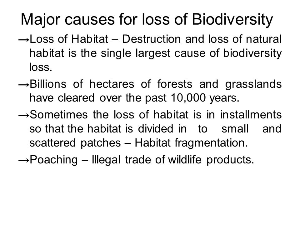 Major causes for loss of Biodiversity → Loss of Habitat – Destruction and loss of natural habitat is the single largest cause of biodiversity loss.