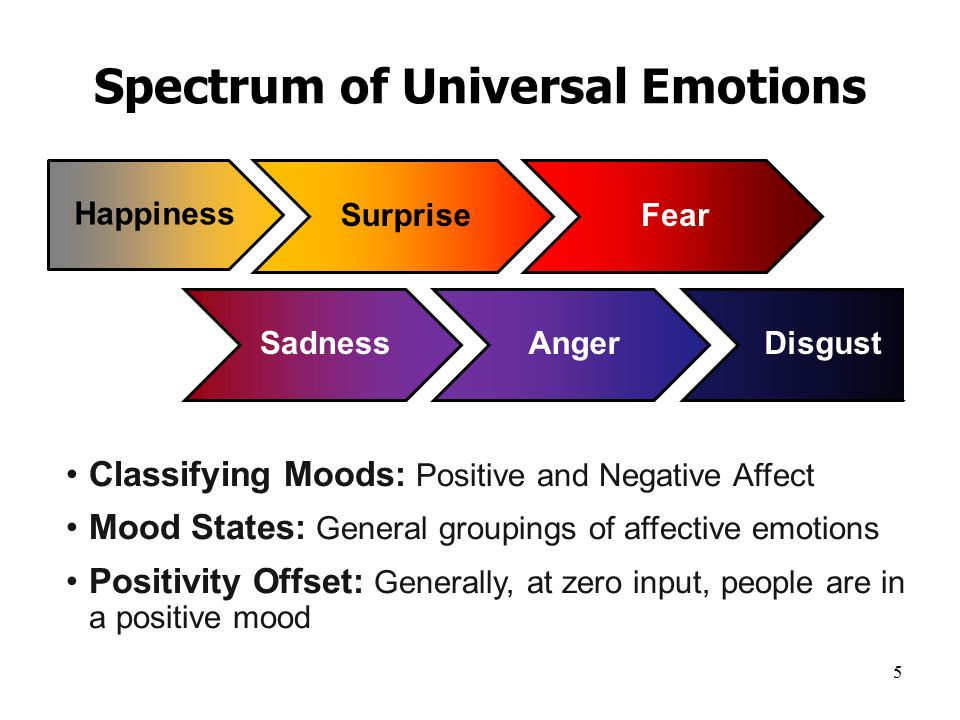 5 Spectrum of Universal Emotions Happiness SurpriseFear Classifying Moods: Positive and Negative Affect Mood States: General groupings of affective emotions Positivity Offset: Generally, at zero input, people are in a positive mood