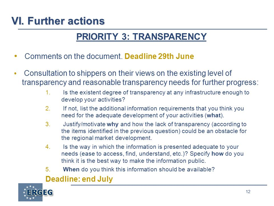 12 PRIORITY 3: TRANSPARENCY Comments on the document.