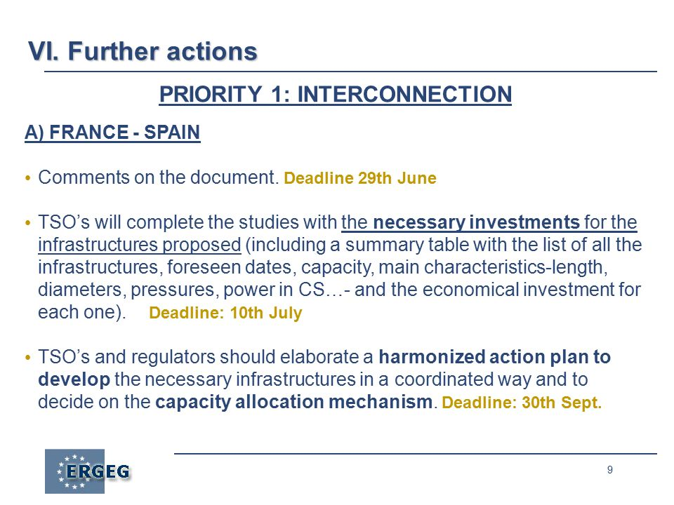 9 PRIORITY 1: INTERCONNECTION A) FRANCE - SPAIN Comments on the document.