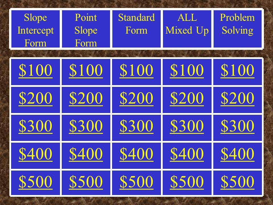 Problem Solving All Mixed Up Standard Form Point Slope Form Slope