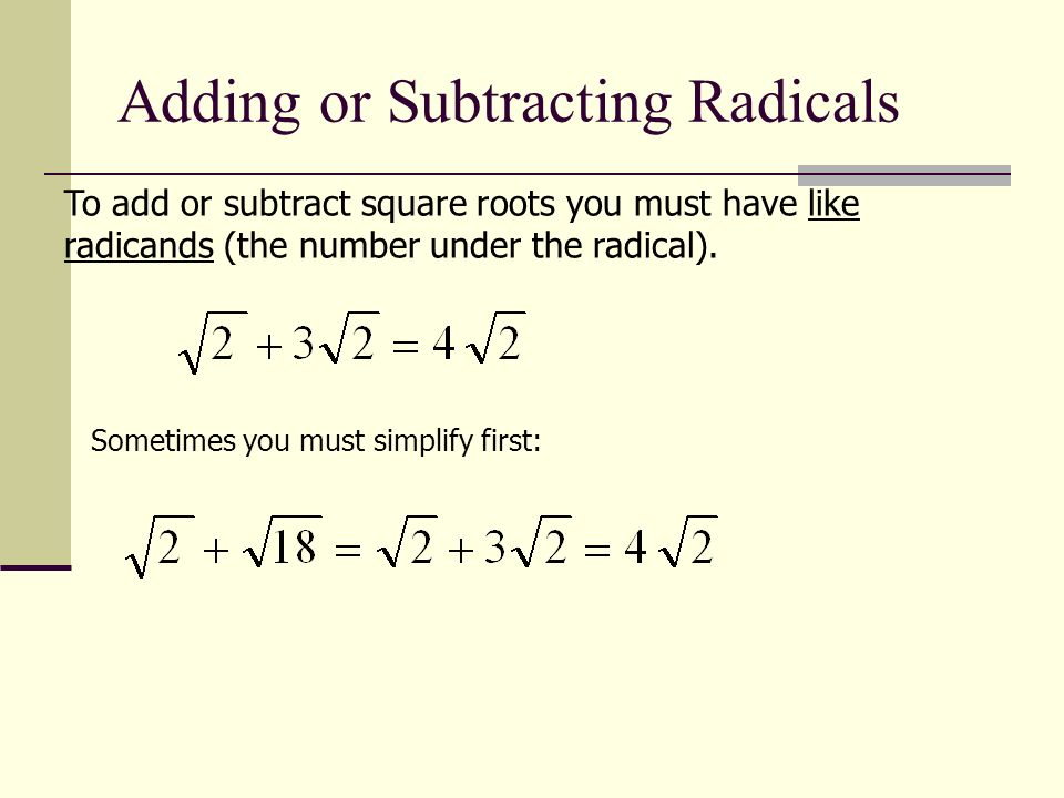 math worksheet : simplifying radicals section 5 3 radicals definition simplifying  : Adding And Subtracting Square Roots