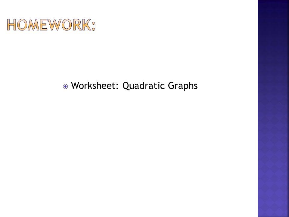Quadratic Functions Expanding to Standard Form A quadratic – Quadratic Graphs Worksheet