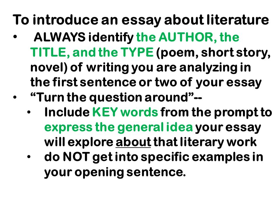 tips for tomorrow s essay the following slides focus on crafting a  3 to introduce an essay about literature