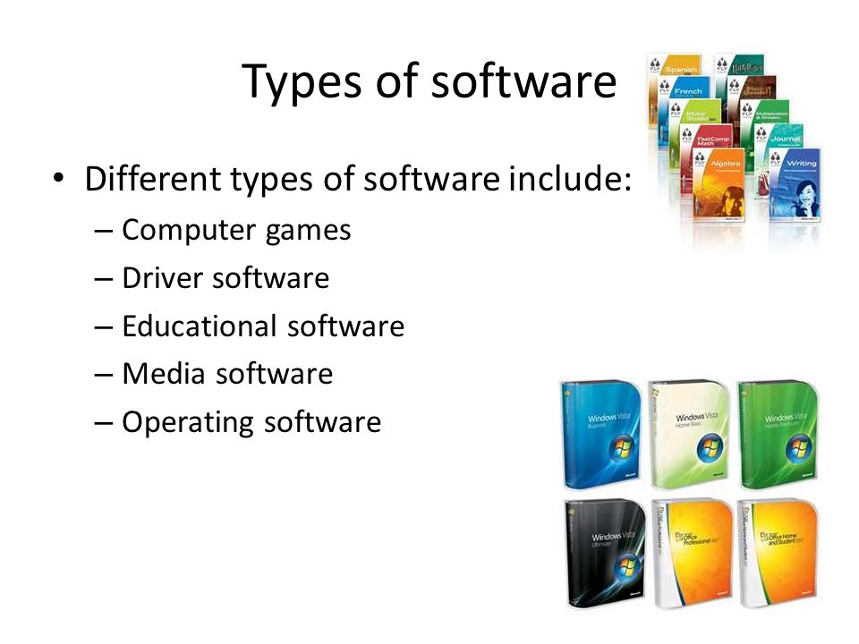 different types of software Main types of software generic general-purpose software, such as word processors [word processor: an application used to write, edit and format text] and spreadsheets [spreadsheet: a spreadsheet is made up of cells, rows and columns.