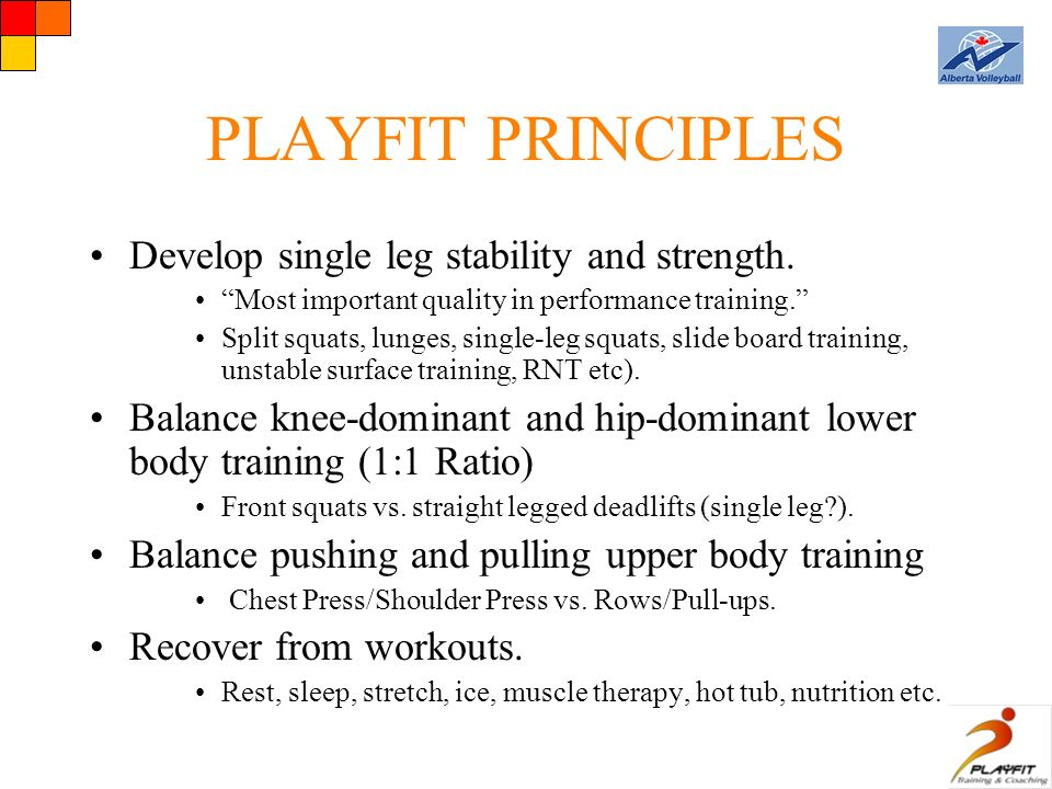 PLAYFIT PRINCIPLES Develop single leg stability and strength.