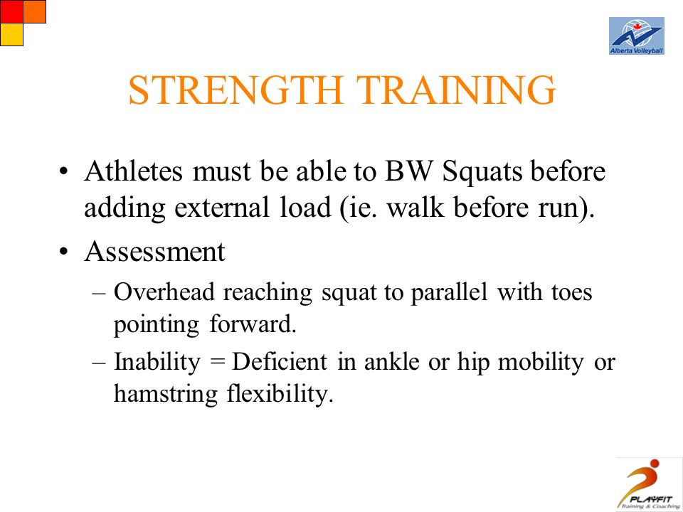 STRENGTH TRAINING Athletes must be able to BW Squats before adding external load (ie.