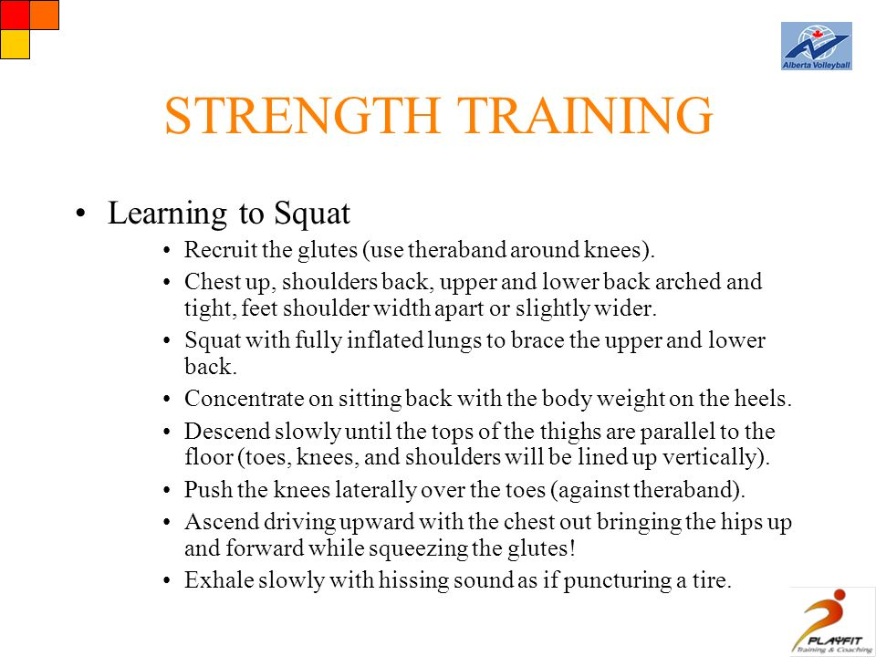 STRENGTH TRAINING Learning to Squat Recruit the glutes (use theraband around knees).