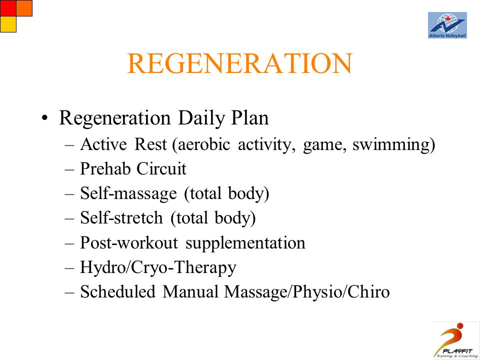 REGENERATION Regeneration Daily Plan –Active Rest (aerobic activity, game, swimming) –Prehab Circuit –Self-massage (total body) –Self-stretch (total body) –Post-workout supplementation –Hydro/Cryo-Therapy –Scheduled Manual Massage/Physio/Chiro
