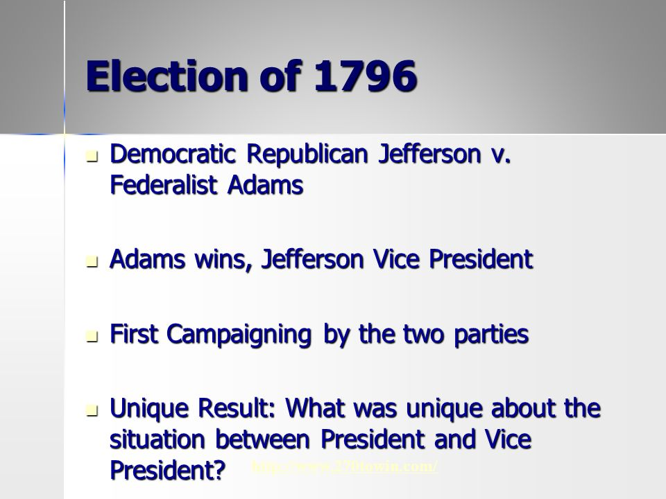 federalists v republicans Marbury v madison was one of the most important decisions in us judicial history, because it legitimized the ability of the supreme court to judge the consitutionality of acts of the president or congress the democratic-republican victory in the 1800 election began a long run of republican.