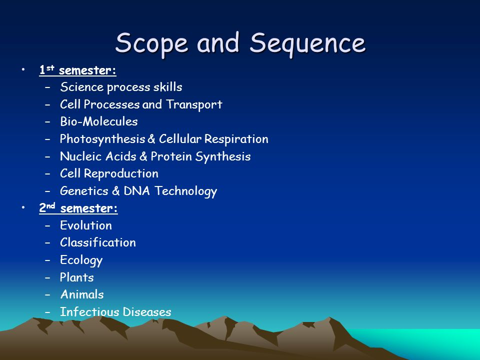Scope and Sequence 1 st semester: –Science process skills –Cell Processes and Transport –Bio-Molecules –Photosynthesis & Cellular Respiration –Nucleic Acids & Protein Synthesis –Cell Reproduction –Genetics & DNA Technology 2 nd semester: –Evolution –Classification –Ecology –Plants –Animals –Infectious Diseases