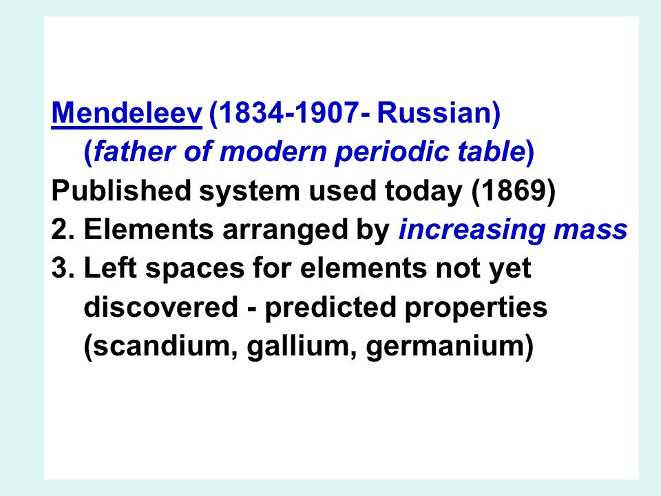 The periodic table ihistory iirangement of elements iiielectron mendeleev 1834 1907 russian father of modern periodic table published urtaz Image collections