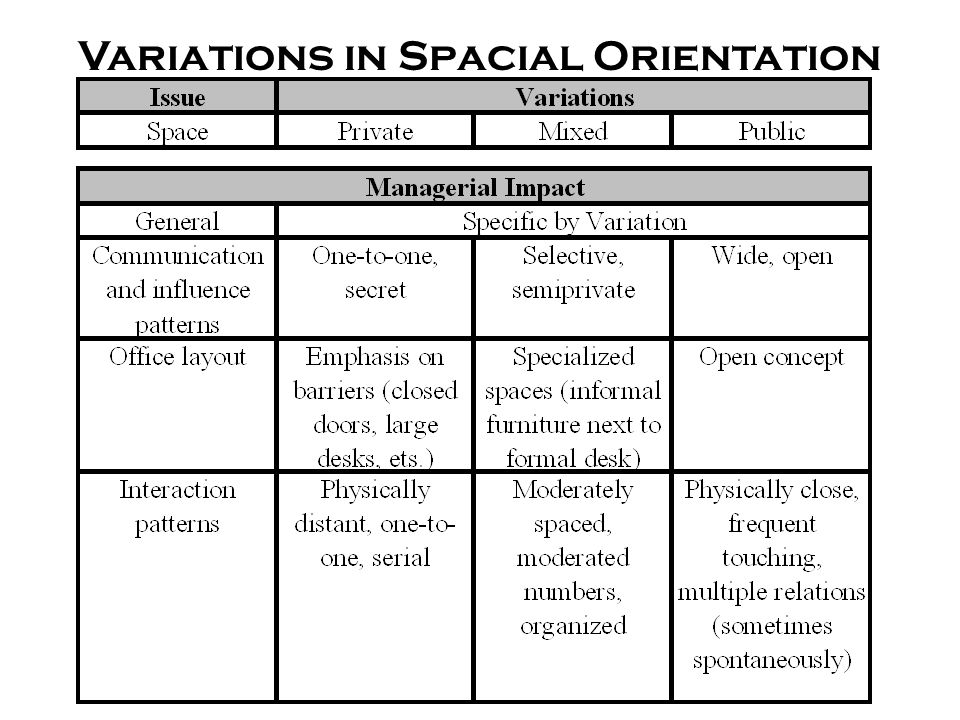 Variations in Spacial Orientation