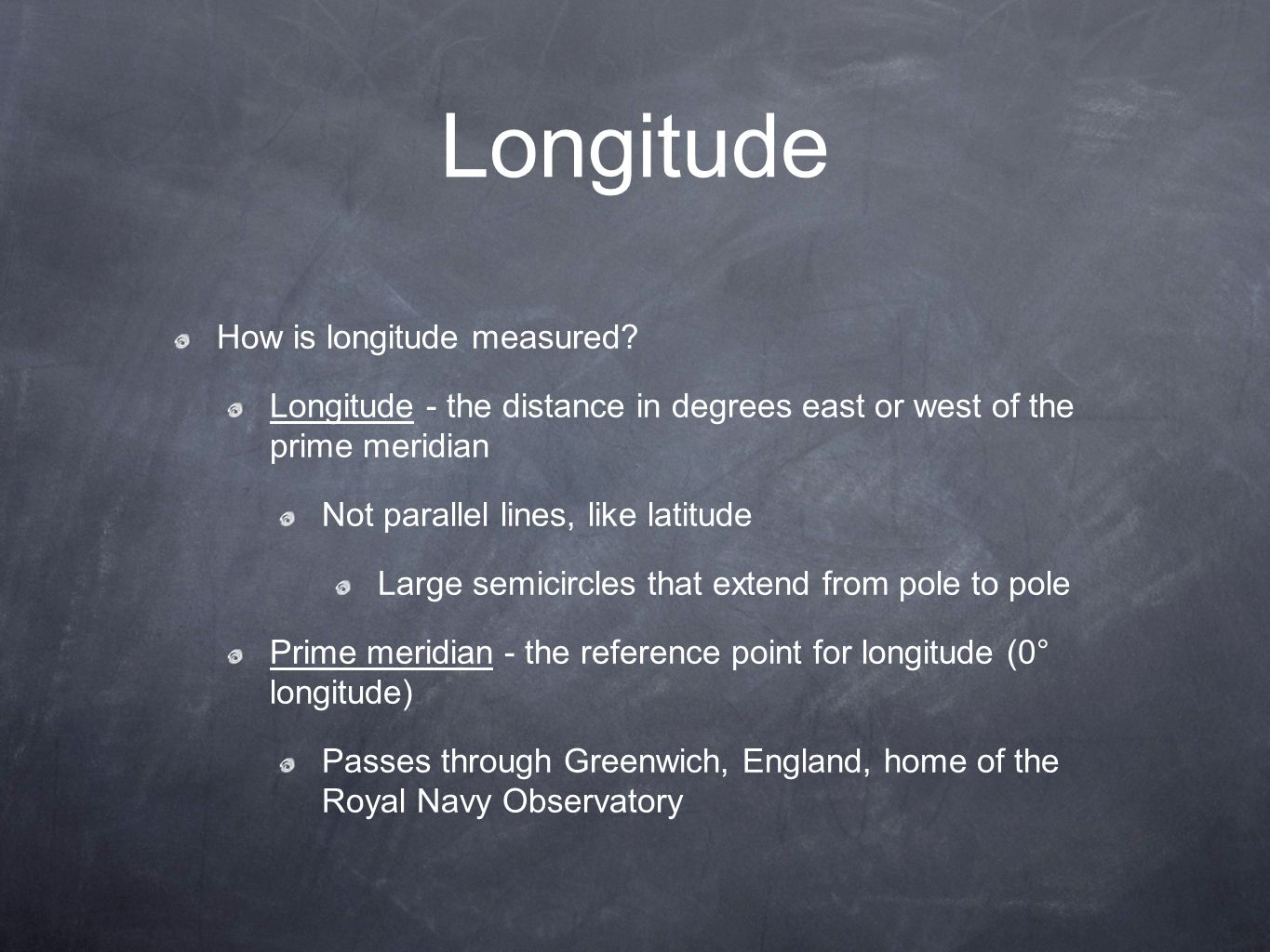 Longitude How is longitude measured.