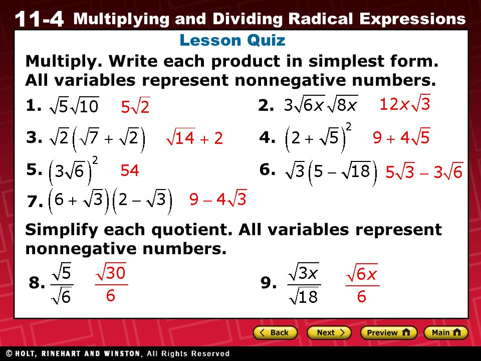11-4 Multiplying and Dividing Radical Expressions Warm Up Warm Up ...