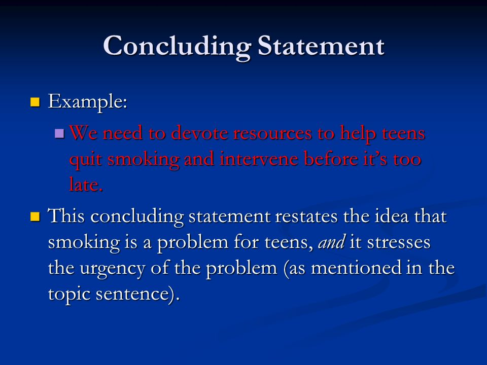 Expound the thesis statement?